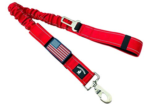 Tactical Bungee K9 Dog Leash - 1.5' INCH Wide Dog LEASHES for XL Dogs Heavy Duty Nylon Elastic Stretch Shock Absorbing Military Dogs Training LEASHES with Removable American Flag Patch (RED, Solid)