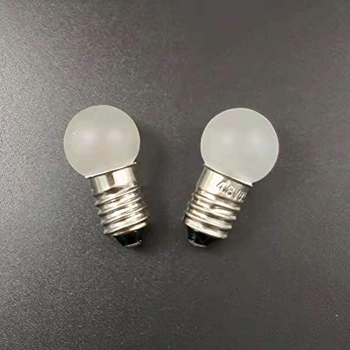 E10 MES 4.8V/0.5A 2.4W 4300K luz blanca cálida superficie mate foco linterna faro delantero lámpara linterna de luz (Paquete de 10), 4.8V 0.5A
