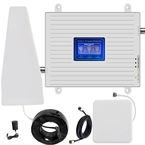 4G3G2G GSM LTE WCDMA amplificatore del segnale 900 1800 2100 MHZ, Ripetitore gsm 900MHz 2100MHZ LTE 1800MHz per chiamate e dati Segnale 3G e 4G a casa/Ufficio (900 1800 2100 MHZ)