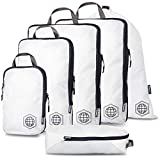 Extra Large Compression Packing Cubes for Travel-Extra Large Packaging Cube Luggage Organizers 6 Piece Set-Ultralight, Expandable/Compression Bags for Clothes (White/Grey)