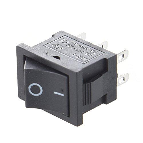 Interruptor - SODIAL(R) 10pzs AC 6A/250V 10A/125V 6 Pin DPDT Encendido / encendido 2 posiciones encajado Interruptor basculante de barco