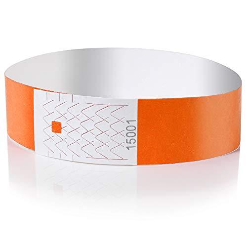 Amazy Pulseras de Identificacion (100 unids.) – Pulseras de seguridad numeradas e imprimibles para el control de eventos y fiestas (Naranja)
