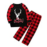 Topgrowth - Juego de pijama para familia de Navidad (2 piezas, diseño de reno, tops, plaid), pantalones y ropa de noche para niños y mujeres Negro M