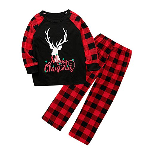 Amilum Family Matching Pyjamas Set Christmas Festival Outfits Two Pieces Deer Nightwear with Plaid Pants for Mom Dad Kids Sleepwear PJs Lounge Wear