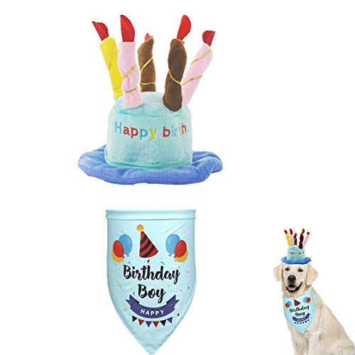 Kuiji Pet Birthday Hat with Bandana, Adjustable Cat Hat with Colorful Candles, Dog Birthday Scarf, for Large Medium Small Dogs & Cats and Puppy Party Costume Accessory (blue-set)