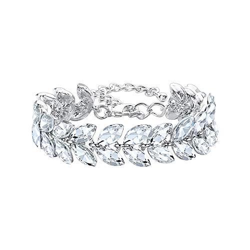 EVER FAITH Armband Strass Kristall Mode Hochzeit Braut Marquise Blatt Tennis Aemkette für Damen Klar Silber-Ton