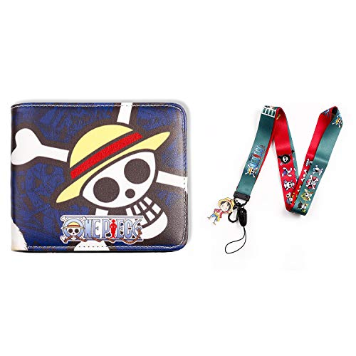 Men Boy One Piece Leather Wallet Anime Purse Credit Card Holder with One Piece Luffy Lanyard (one piece A)