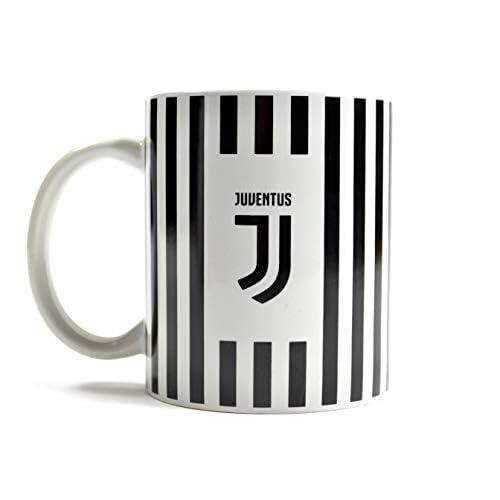 Tazza ufficiale JUVENTUS New Crest in ceramica a righe bianche e nere