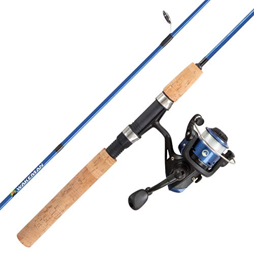 """Youth Fishing Rod & Reel Combo-5'2"""" Fiberglass Pole, Spinning Reel, Cork Handle & Tackle Kit for Beginners-Kettle Series by Wakeman Outdoors (Blue) (80-FSH1006)"""