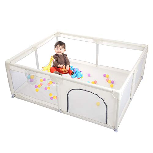 Taleco Gear Baby Playpen, Playpens for Babies, Playard with Gate for Infants Kids Safety Play Center Activity Yard Portable, Anti-Fall Playpen Indoor and Outdoor