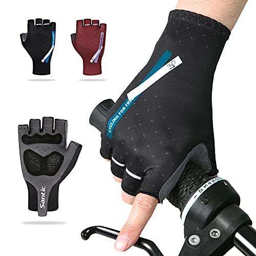 Santic Fahrradhandschuhe für Herren, Halbfinger-Handschuhe, MTB, DH, Rennrad, Gel-Pad, stoßdämpfend, rutschfest, atmungsaktiv, für Motorrad, Mountainbike, Unisex, Damen
