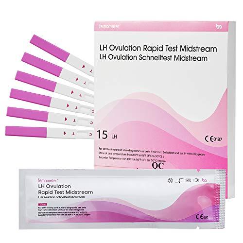 Femometer 15 test Rápido de ovulación ultrasensibles,Tarjeta de referencia de colores para identificar fácilmente el resultado