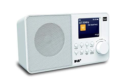 Digitalradio mit Farbdisplay • DAB+ / UKW • Kopfhöreranschluss • AUX-In • Senderspeicher • Teleskopstabantenne • Weiß • Dual DAB 18 C