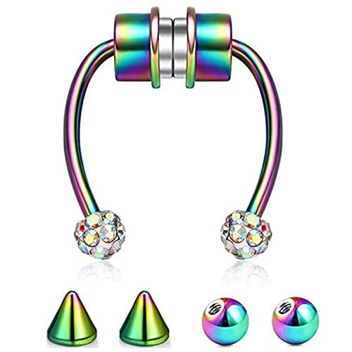 ZJHGQ Anillo de nariz para septum, elegante anillo de herradura falso para la nariz que imita el regalo de joyería corporal no perforante para adolescentes, color
