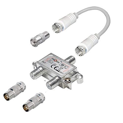 2-Fach TV-Verteiler mit Koax-Adaptern und Kabel; für Kabel-TV; 1 Eingang - 2 Ausgänge; Profi - Qualität für HDTV ; mit Rückflusssperre und Entkopplung; Metall-Gussgehäuse