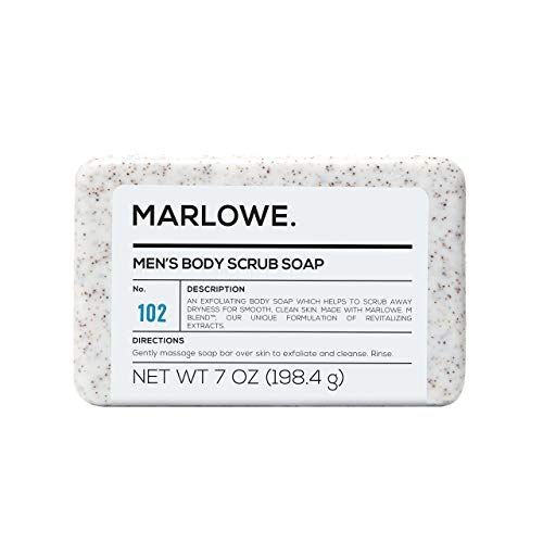 MARLOWE. No. 102 Mens Body Scrub Soap 7 oz | Best Exfoliating Bar for Men | Made with Natural Ingredients | Green Tea Extract | Amazing Scent