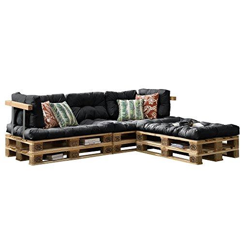 [en.casa] Euro Paletten-Sofa - DIY Möbel - Indoor Sofa mit Paletten-Kissen/Ideal für Wohnzimmer - Wintergarten (3 x Sitzauflage und 5 x Rückenkissen) Dunkelgrau