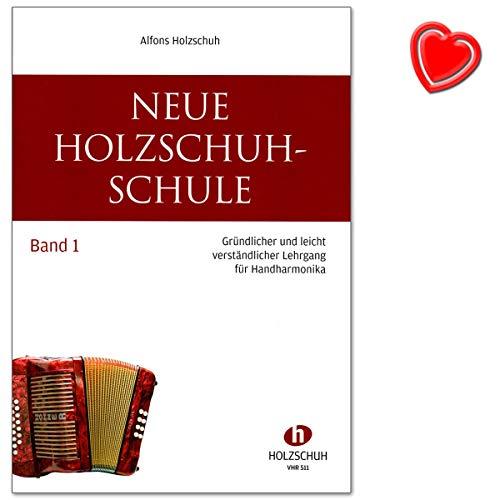 Neue Holzschuh Schule Band 1 von Alfons Holzschuh - Lehrgang für Handharmonika mit bunter herzförmiger Notenklammer
