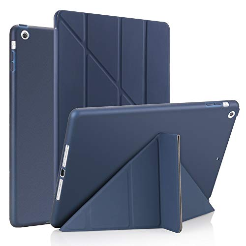 QiuKui Tab Cover For iPad 10.2, PU Leather Silicone Soft Cover Generation Flip Stand Case for iPad 10.2 2019 A2197 (Color : Dark blue)