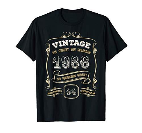 34. Geburtstag 34 Jahre Mann Frau Geschenk Vintage 1986 T-Shirt