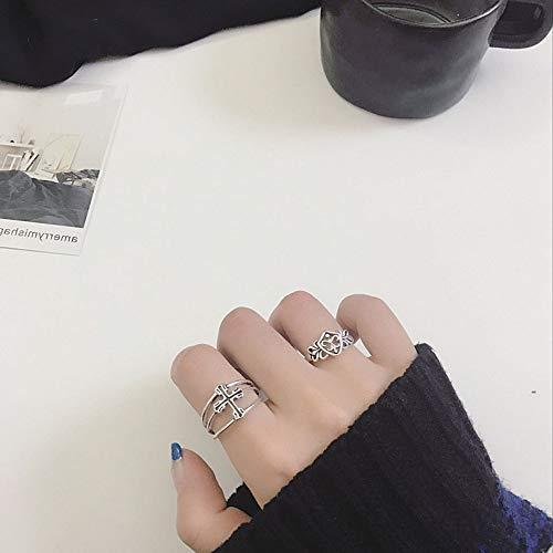 DLIAAN Ringen Zilver Opening Vintage Ring 2 Stks Vrouwelijke Eenvoudige Trend Overdreven Cross Vijfpuntige Ster Driehoek Shield Punk Persoonlijkheid 3 Stijl Mannelijke En Vrouwelijke Index Vinger Ring
