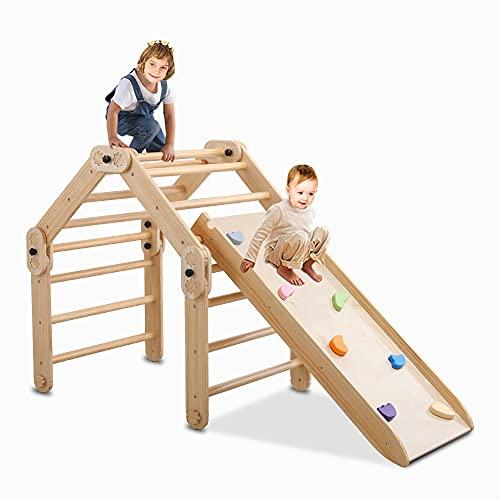 Dripex Faltbarer Klettergerüst mit doppelseitiger Rutsche - Montessori Holzspielzeug Holz Klettergerüst und Rutsche Indoor für Kleinkinder Kinder (limber mit Rutsche)