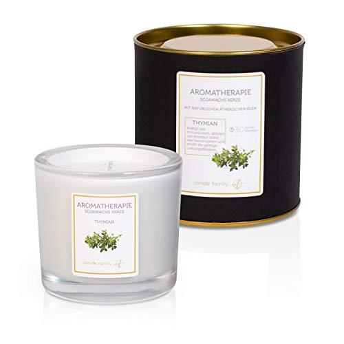 Candle Family Aromatherapie Sojawachs Kerzen | Tymian |Kerze im Glas mit intensiven entspannenden Duft | 30 Stunden Brenndauer
