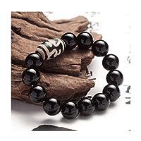 ZHAOSHOP Schwarzes Chalcedon Tibetanisches Dzi-Armband, natürlicher Edelstein-Kristallperlen, Kristall-Schmuck-Geschenk, Paar-Armband, geeignet für Männer und Frauen geeignet