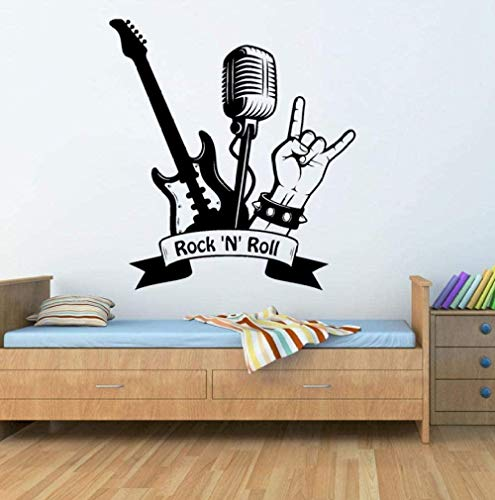 Adhesivo de pared calcomanía Rock Music Music Músico Guitarra eléctrica Patrón Vinilo Art Girl Boy Dormitorio Decoración del hogar 57X62cm