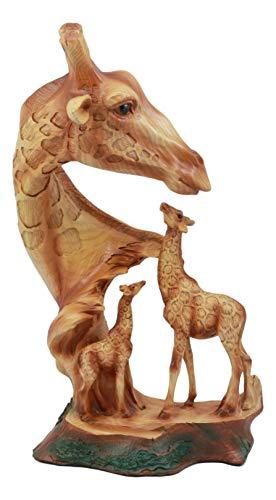 Ebros Safari Giraffe Bust Statue 12'Tall Faux Wood Resin Giraffe Family in Wilfdlife Savanna Scene Figurine