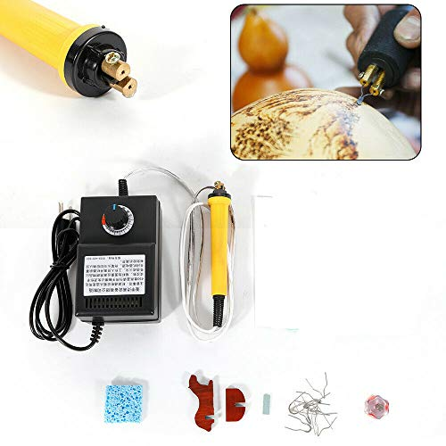 Pyrography Machine Kit, Electric Wood Burning Machine Pen Crafting Engraving Engraver Pen Pyrography Tool Kit for Gourd Wood Straw Leather Leaf (2Pcs Pyrography Pen+ 20 Pcs Tips)