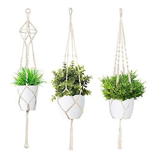 HAKACC Makramee Blumenampel, 3er Makramee Set Pflanzenhänger Hängeampel Boho Deko Blumentopf Aufhänger für Balkon Garten Wanddeko