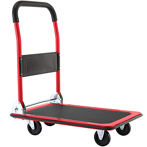 HEMBOR Push Cart Dolly , Moving and Portable Platform Truck, Folding Aluminum Platform Cart, with Non-Slip 360° Swivel Casters,for Mobile/Warehouse/Office/Garage/Home 330/660 LBS Max Load