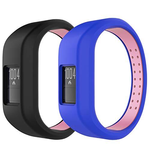 MoKo Reloj Correa Compatible con Garmin Vivofit 3, 2 Paquetes Pulsera de Silicona Respirable y Reemplazable, Banda de Reloj Deportivo con Cierre, Talla Grande - Negro y Rosa + Azul y Rosa