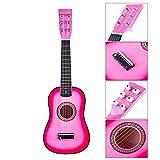 DXX Guitare Enfant Bois 6 Cordes Instruments de Musiqu Acoustique a Cordes 23 Pouce pour Guitare Débutant-Rose