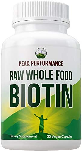 Biotin Raw Whole Food Plant Based Vegan Biotin 5000mcg Capsules Supplement by Peak Performance product image