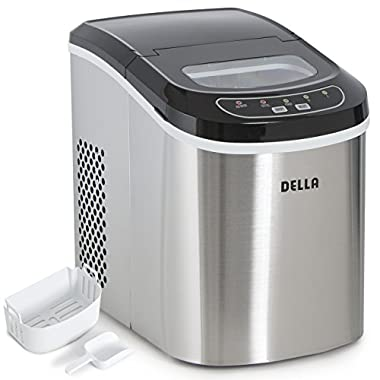 DELLA Electric Ice Maker Machine Portable Automatic Icemaker 26lbs per day 2-Selectable Ice Cub, Stainless Steel