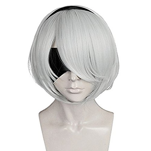 Anogol Hair Cap+Bob Cosplay Wig Grey Short Straight Synthetic Hair Costume Fancy Dress Halleween Wigs
