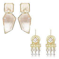 Transparent+Pearls Acrylic Geometric Rhinestone Statement Drop Earring