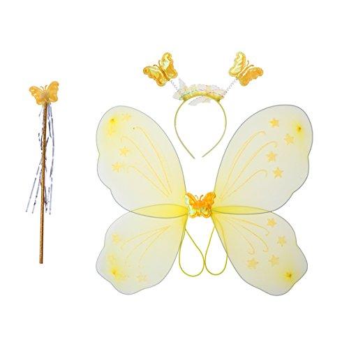 LUOEM Disfraz de Hadas Niña Mariposa Alas Varita Diadema Hada Juguete 3 Piezas (Amarillo)