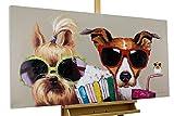 KunstLoft Acryl Gemälde 'Kiki, Jack und Matt' 120x60cm | original handgemalte Leinwand Bilder XXL | Hunde Vogel Bunt Brillen Lustig für Wohnzimmer | Wandbild Acrylbild Moderne Kunst mit Rahmen