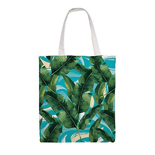 Bolsa de transporte de lona, doble cara, Tropicale, plantas naturales, hojas verdes...