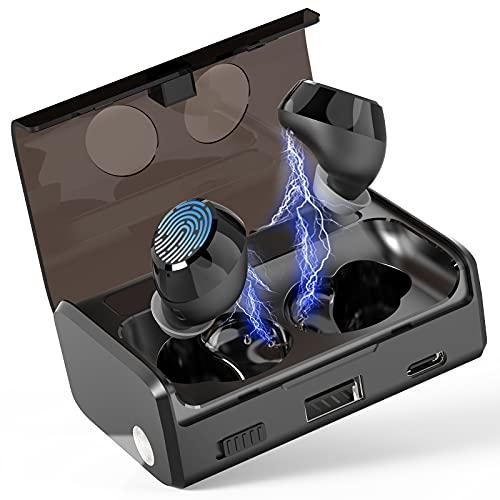 Ecouteur Bluetooth 5.1, Écouteurs sans Fil avec Micro, Oreillette Bluetooth Écouteurs Intra-Auriculaires, CVC 8.0 HD Stereo Casque Sport, IP7 Etanche, 70H 2600mAh Etui de Charge avec Lampe de Poche