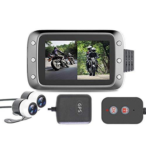 Mogoi Dashcam für Motorräder, 1080p, LCD-Bildschirm mit 3 Zoll (7,6 cm), wasserdicht, 140-Grad-Winkel, Dual-Objektiv, Videoaufname, Nachtsicht, GPS für Outdoor-Trips und Reisen