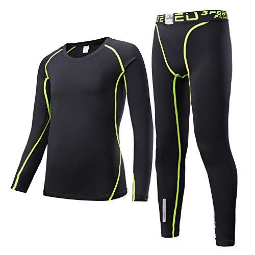 Sillictor Sportunterhose für Jungen, Thermounterwäsche für Kinder, Kompressionshosen und Hemden, Unisex, warm, schweißableitend, atmungsaktiv, Kinder, Grün 2, Kids M/Tag 130