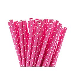 Pink with White Polka Dots Paper Straws, 6mm x 195mm. Available in packs of 25 or 100 individual paper drinking straws. 100% biodegradable paper straws made from high quality paper. These straws are printed with waterbed inks in bright and colourful ...