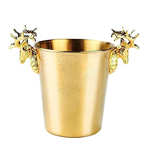 U/K Refrigerador de champán de Acero Inoxidable, Bebidas Europeas Cubbel de Hielo Cubbel Aislado Cube de Hielo Party Party Bar Chiller de Vino Llevar asa (Color : 3L)