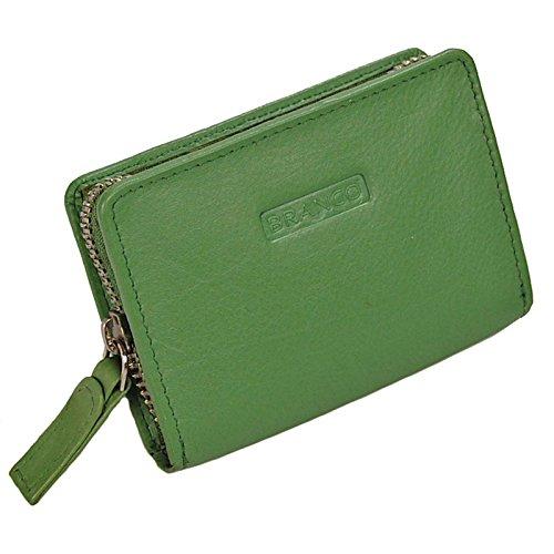 GoBago Branco Mini Reißverschluss Geldbörse Leder Geldbeutel Münzbörse PortmoneeGoBago (Grün)