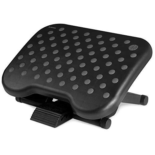 Navaris Reposapiés de Oficina - Soporte alzador de pies inclinable 0-25° - Apoyo ergonómico con Efecto Masaje - Base para pies de 42.5 x 32.5 CM