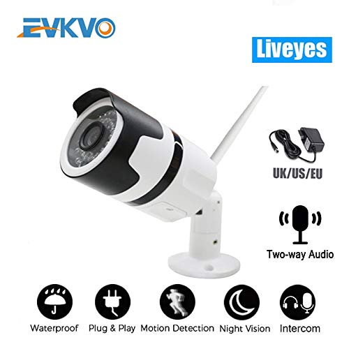 1080p Two Way Audio WiFi IP Camera Onvif Outdoor Weatherproof Infrared Night Vision Security Video Surveillance Camera Liveyes 1080p-32 GB.